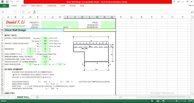Download an Excel Spreadsheet for Design Shear Wall