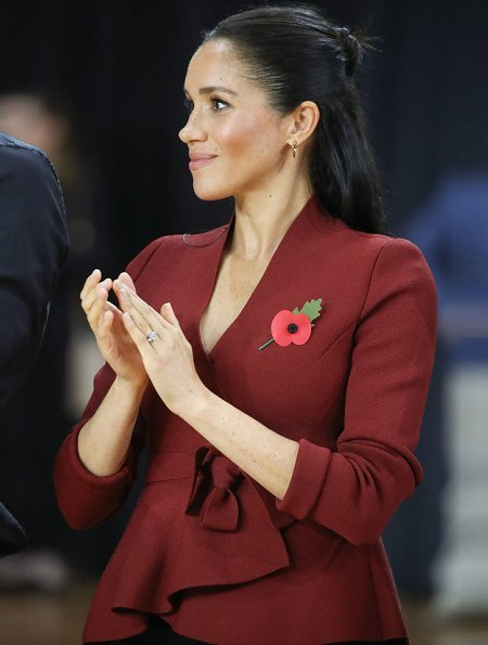 The Duchess of Sussex, Meghan Markle wore a red jacket by Scanlan Theodore which is a Australian clothing brand. Crown Princess Mary worn same jacket