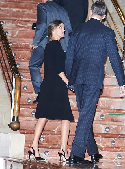 Queen Letizia wore Emporio Armani Ruffle Side Dress. Princess of Asturias Awards Concert held at the Prince Felipe Auditorium in Oviedo