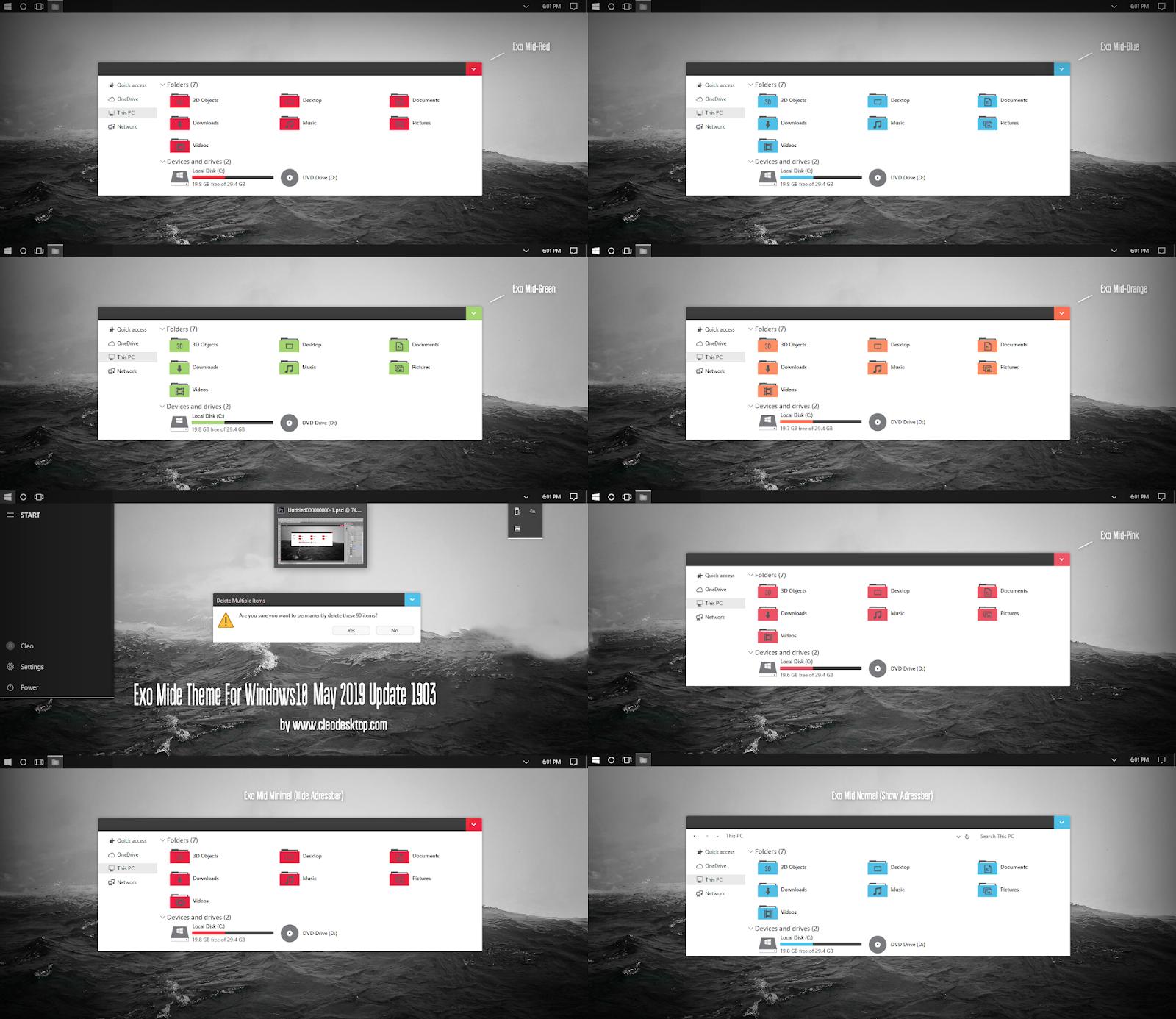 Exo Mide Theme Windows10 May 2019 Update 1903