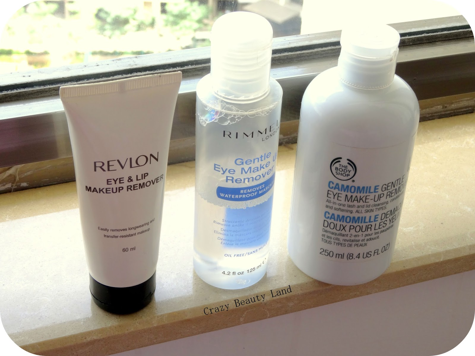Revlon Eye and Lip Makeup Remover Review, Rimmel Gentle Eye Make Up Remover Oil Free Review, The Body Shop Camomile Gentle Eye Makeup Remover Review