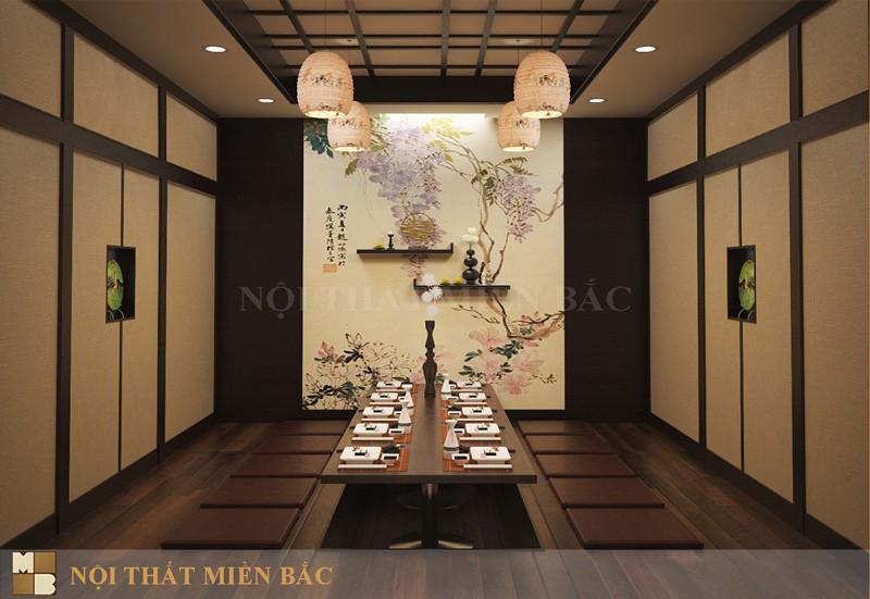 Thiết kế nhà hàng Nhật không gian phòng Vip chuẩn Nhật