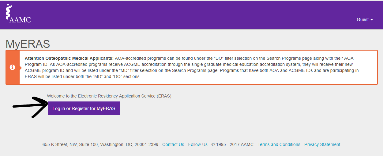 Medicowesome: ERAS token, AAMC account, Letter of Recommendation