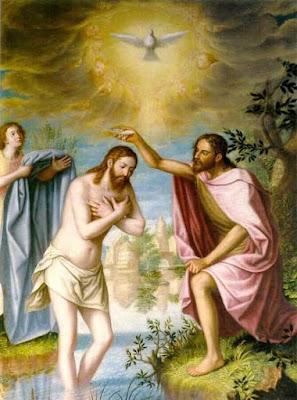 Pintura del Bautizo de Jesús donde recibe al Espíritu Santo por medio del Bautismo