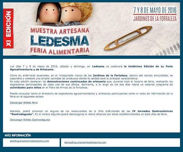 XI FERIA ARTESANA Y ALIMENTARIA DE LEDESMA