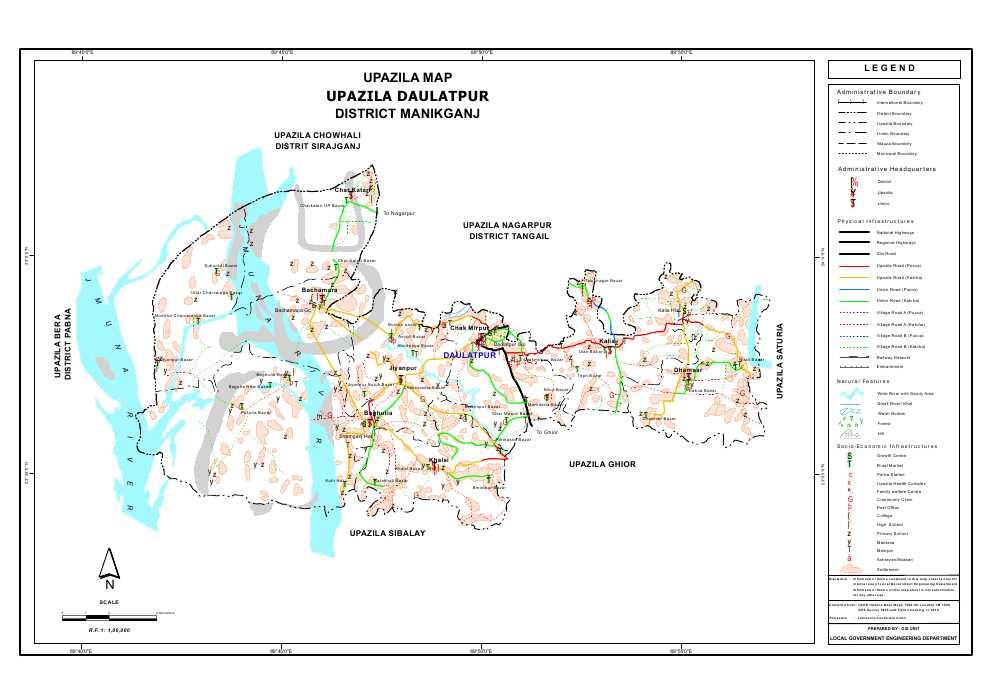 Daulatpur Upazila Map Manikganj  District Bangladesh