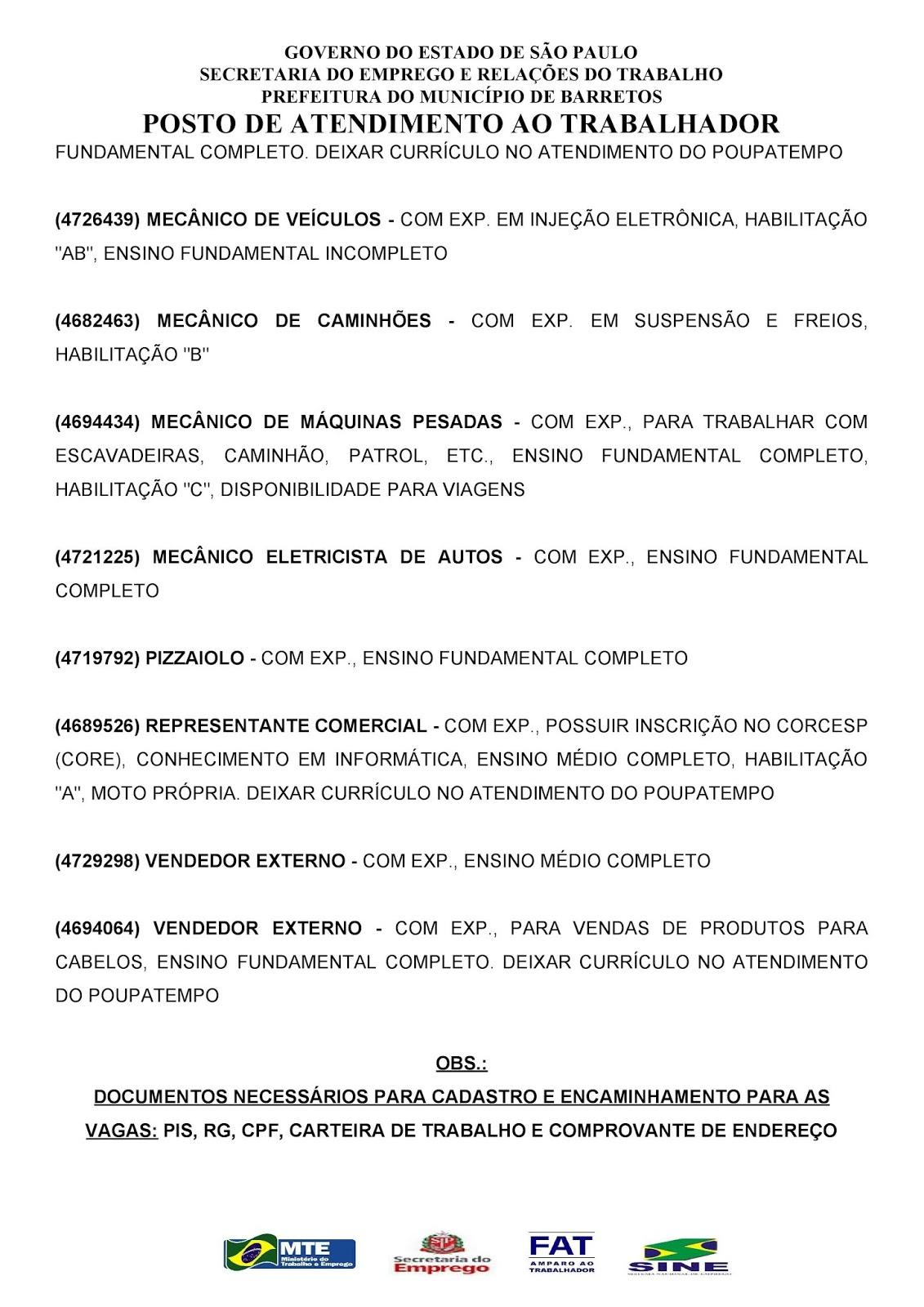VAGAS DE EMPREGO DO PAT BARRETOS-SP PARA 14/11/2018 QUARTA-FEIRA - PARTE 2