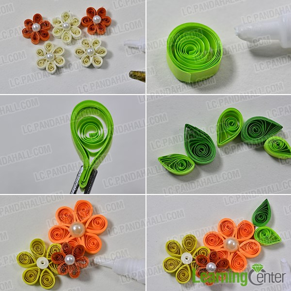 How to make quilling flower necklaces for girls crazzy craft quilling paper and then make them as tear drop shapes with flat nose pliers 2nd paste the green leaves around the quilling flowers with white glue mightylinksfo