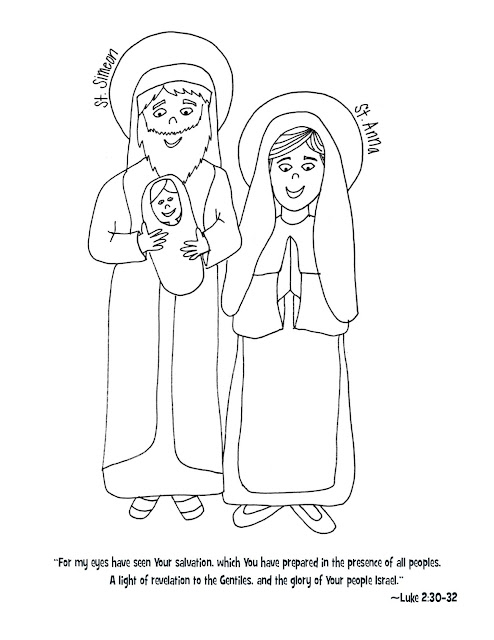Look to Him and be Radiant: Sts. Simeon & Anna Coloring Page