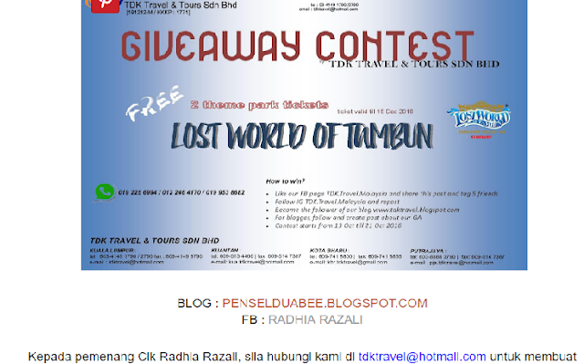 MENANG 2 TIKET LOST WORLD OF TAMBUN THEMEPARK DARIPADA GIVE AWAY TDK TRAVEL & TOURS..
