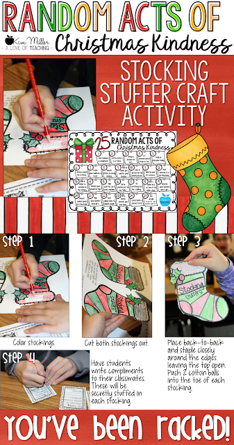 Random Acts of Christmas Kindness with Stocking Stuffer Craft Activity for students