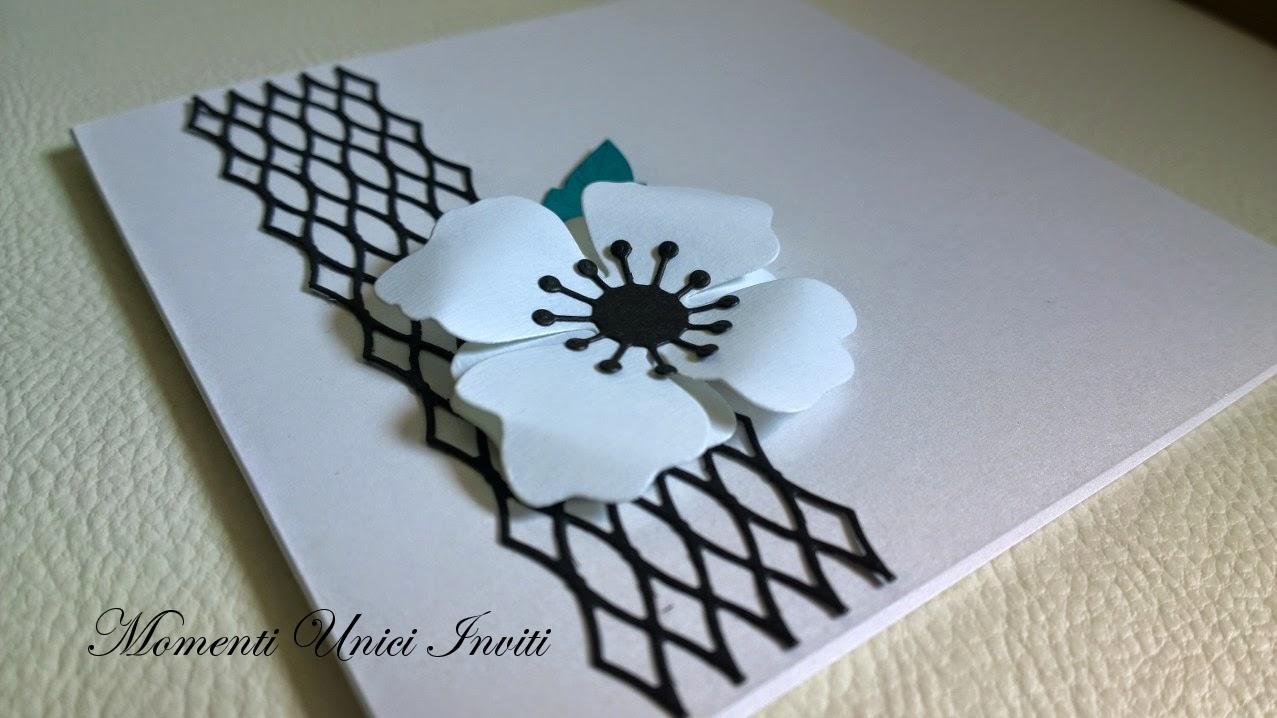 an Partecipazione mod. AnemoneColore Bianco Colore Nero Nozze d'Inverno