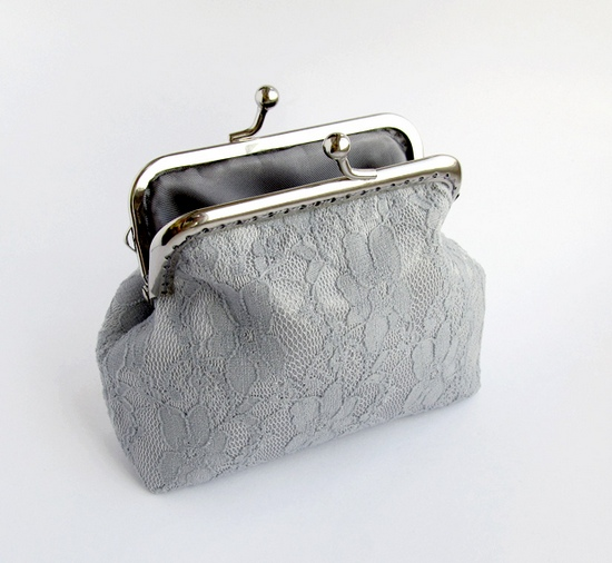 lace purse, sewing, серый кошелек
