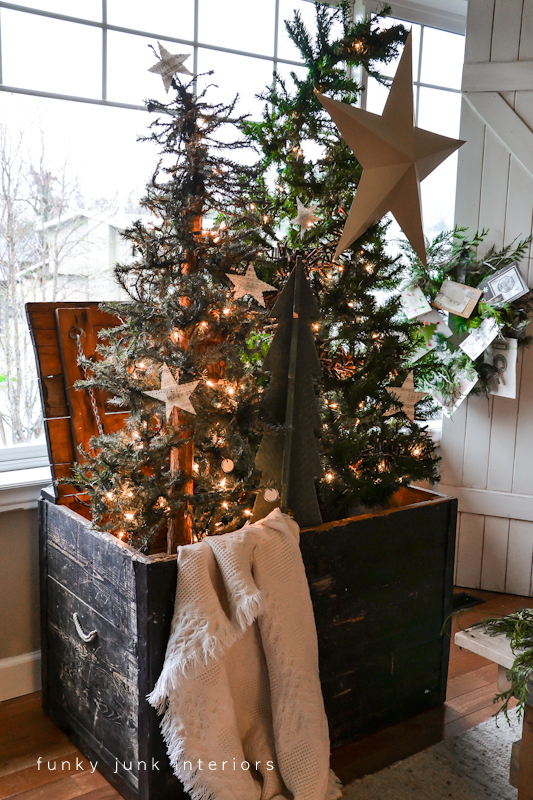 Christmas tree forest in a crate, with a star theme, via Funky Junk Interiors