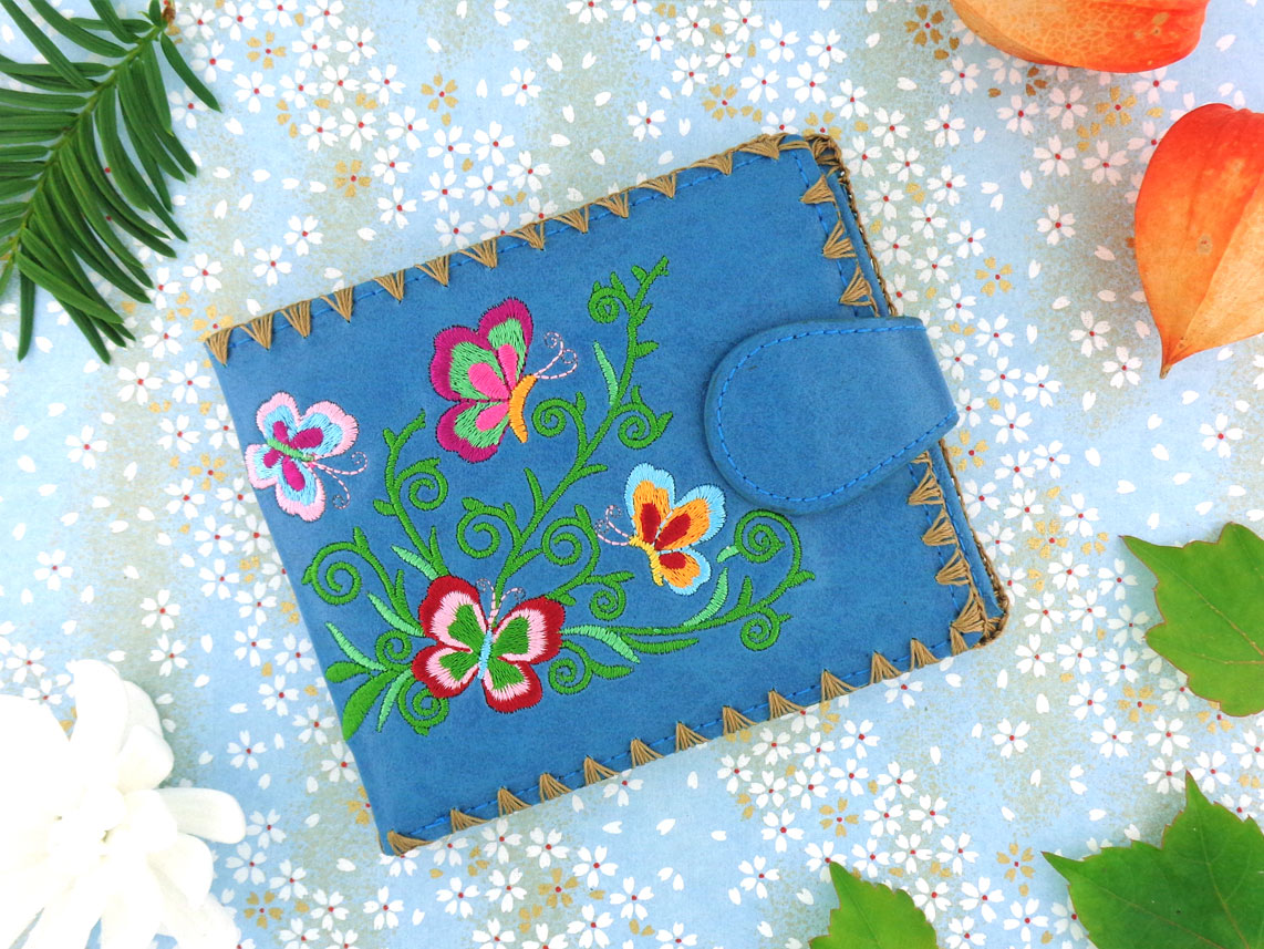 LAVISHY vegan leather embroidered wallet feature Chinese style love butterfly embroidery pattern