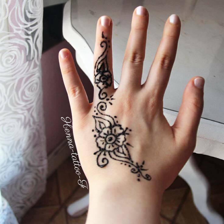Henna tattoo by f tutoriel tatouage henn motif facile - Henne simple main ...