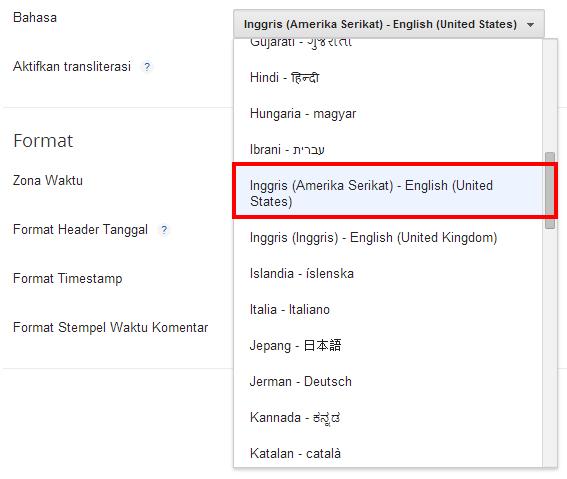 Ubah format Bahasa Indonesia menjadi Bahasa Inggris