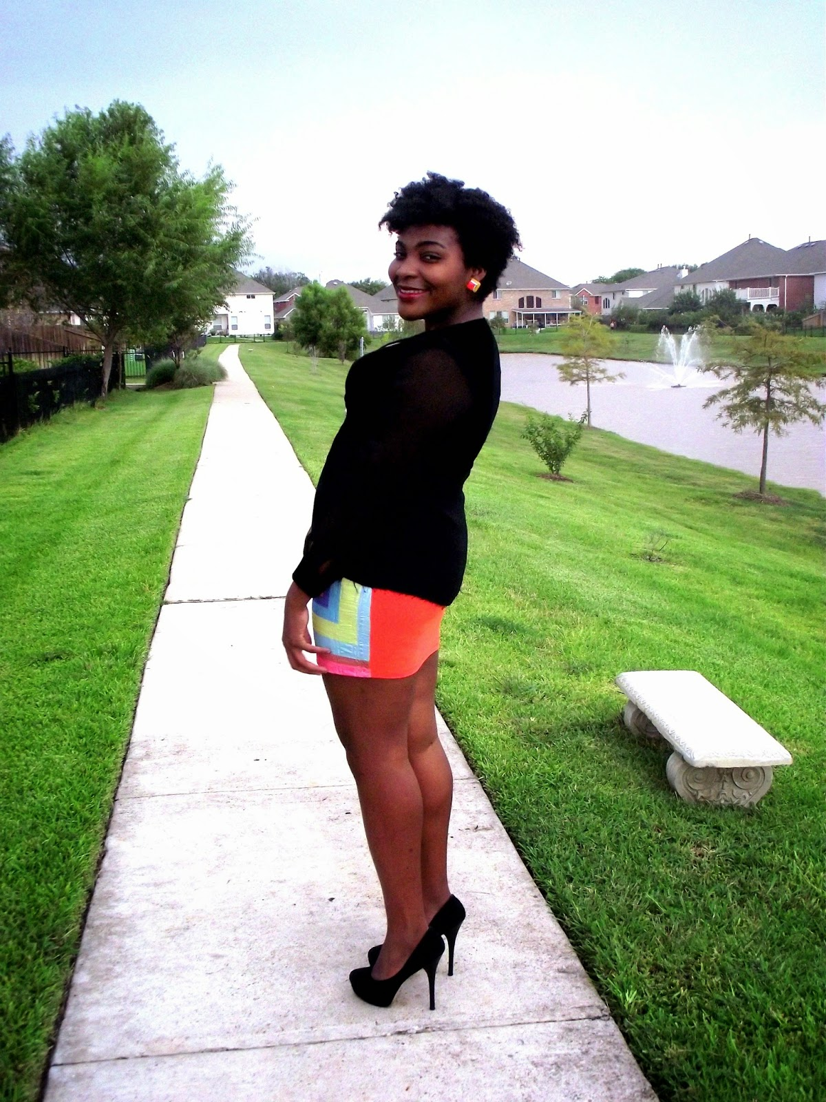 Date Night, color block, bodycon dress, mini dress, colorful dress, ebay dress, black blazer, sheer sleeves, short dress, zara heels, platforms, size 11 shoes, five inch heels, natural hair, twa, wash and go, natural hair fashion, natural hair style