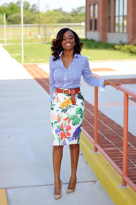 mixing prints stripe shirt and floral skirt prissysavvy
