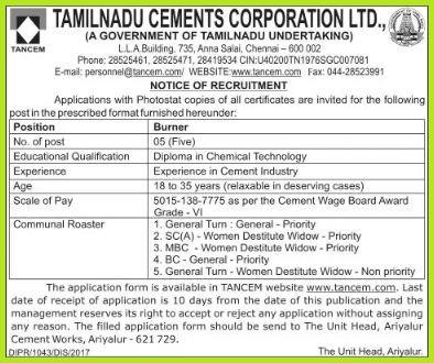 TANCEM Burner Recruitment 2017