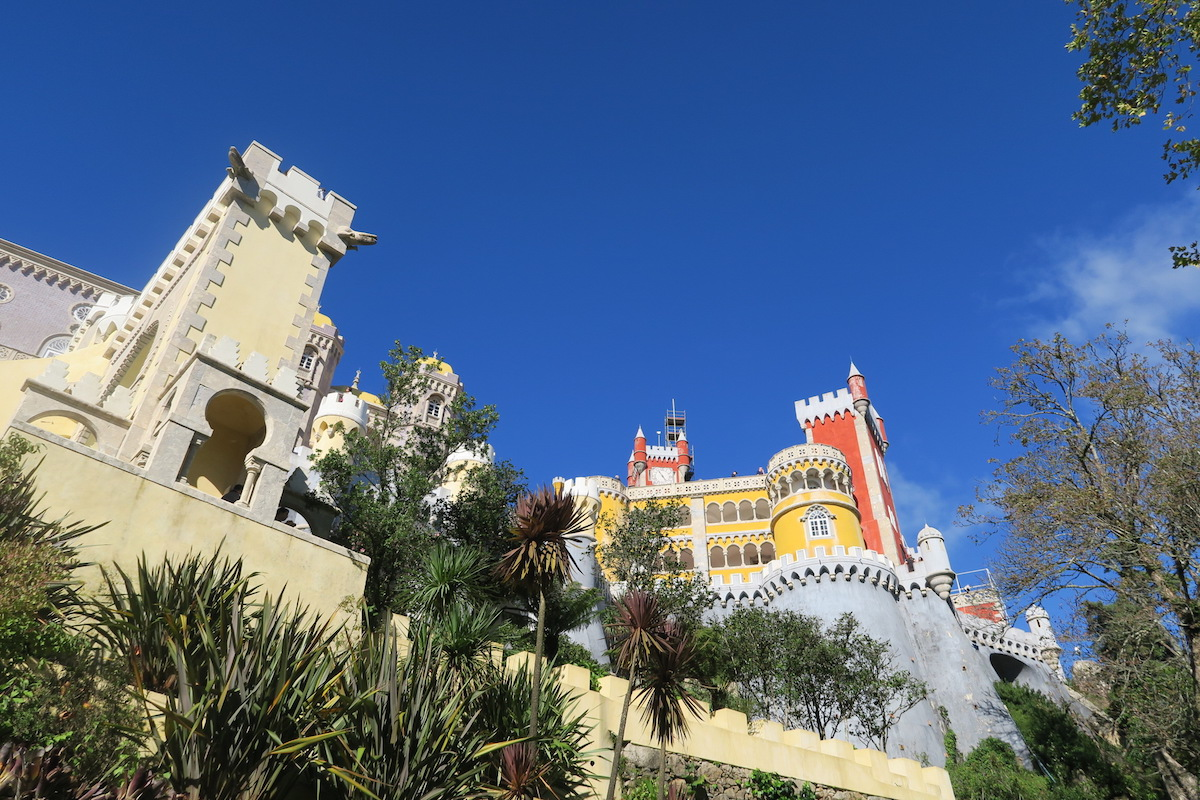 This is a shot facing upwards of the Palacio da Pena.