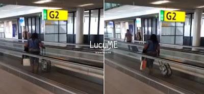 Aksi Konyol Wanita di Eskalator Bandara Ini Kocak Banget, Kebanyakan Makan Mecin Kali Ya?
