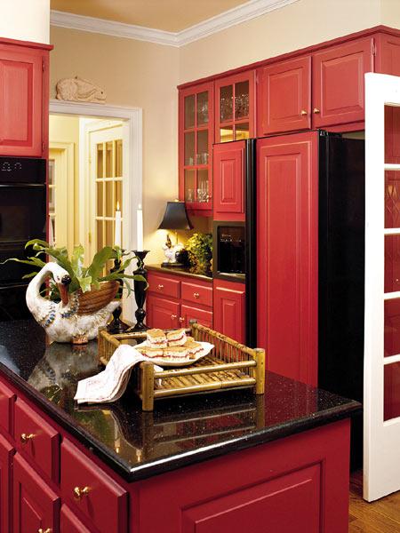 Faith And Pearl Red Farmhouse Kitchen