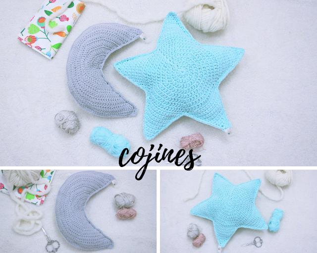 cojin crochet estrella luna