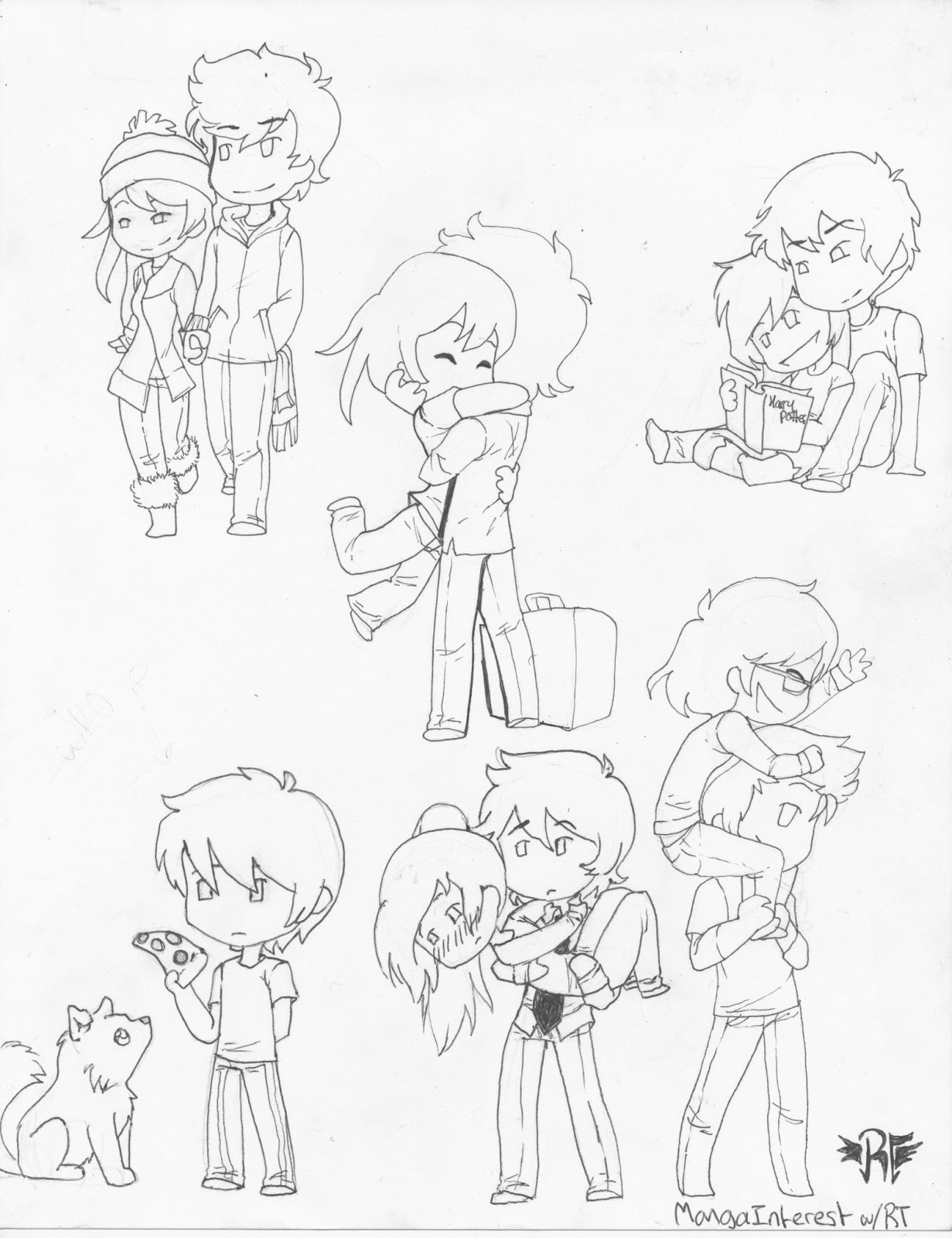 Anime couple poses