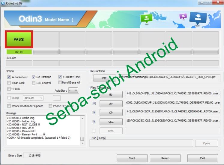 Cara Flash Samsung J1 Ace SM-J110G Odin 4 file | Serba-Serbi