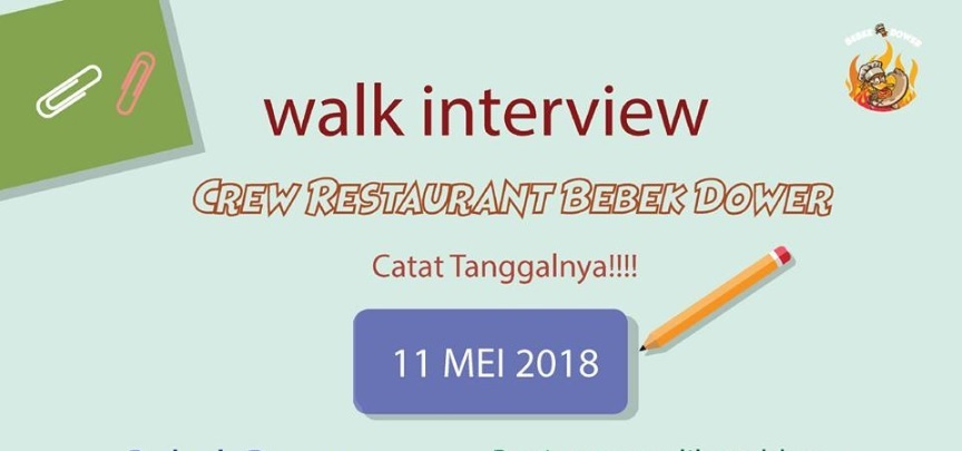 Walk In Interview Di Resto Bebek Dower 11 Mei 2018