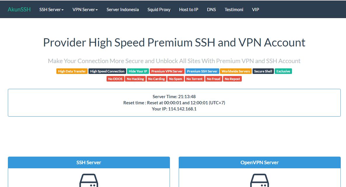 √ Daftar Situs Penyedia Akun SSH Yang Suport SSL Dan TLS