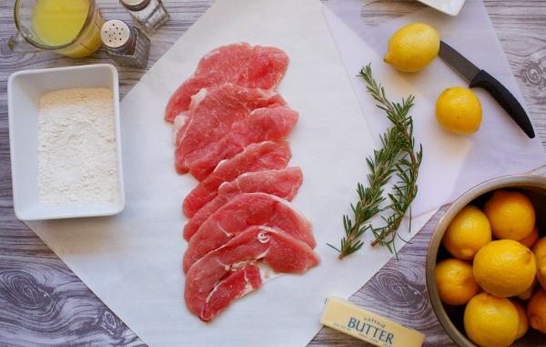 Ingredients for lemon rosemary pork scaloppini