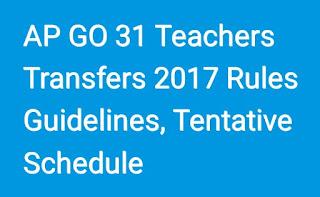 AP GO 31-AP Teachers Transfers 2017 Schedule Rules Guidelines