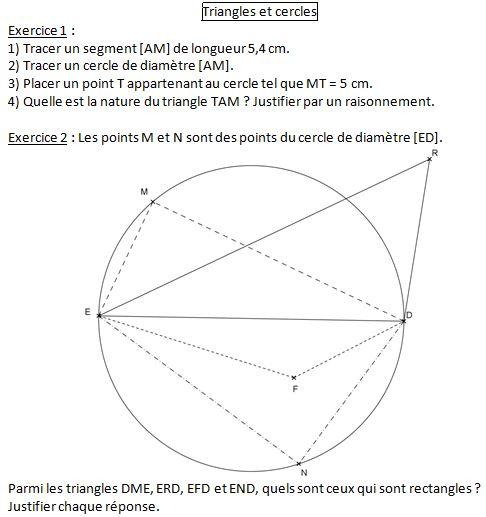 devoir triangle rectangle et cercle 4ème