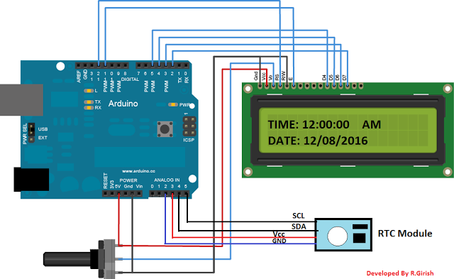 Arduino LCD and RTC module DS1307