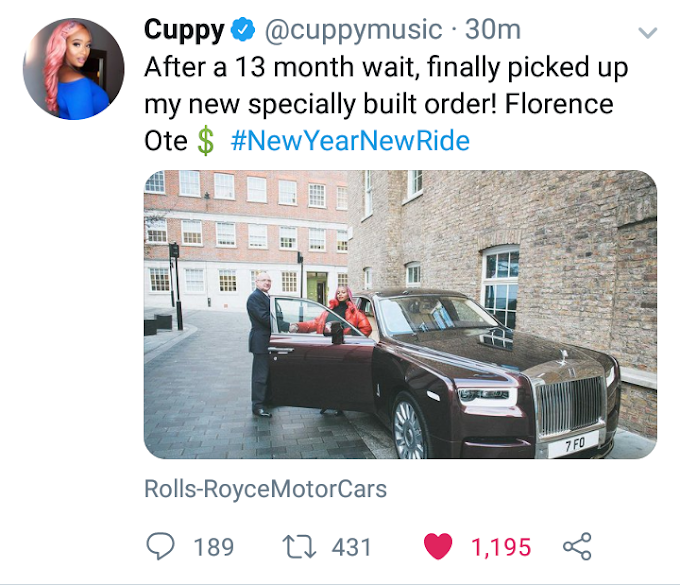 Dj Cuppy gift herself a new ride