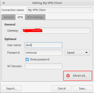 Setting VPN di linux elementary OS
