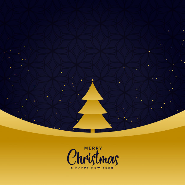 Minimal golden merry christmas greeting background Free Vector