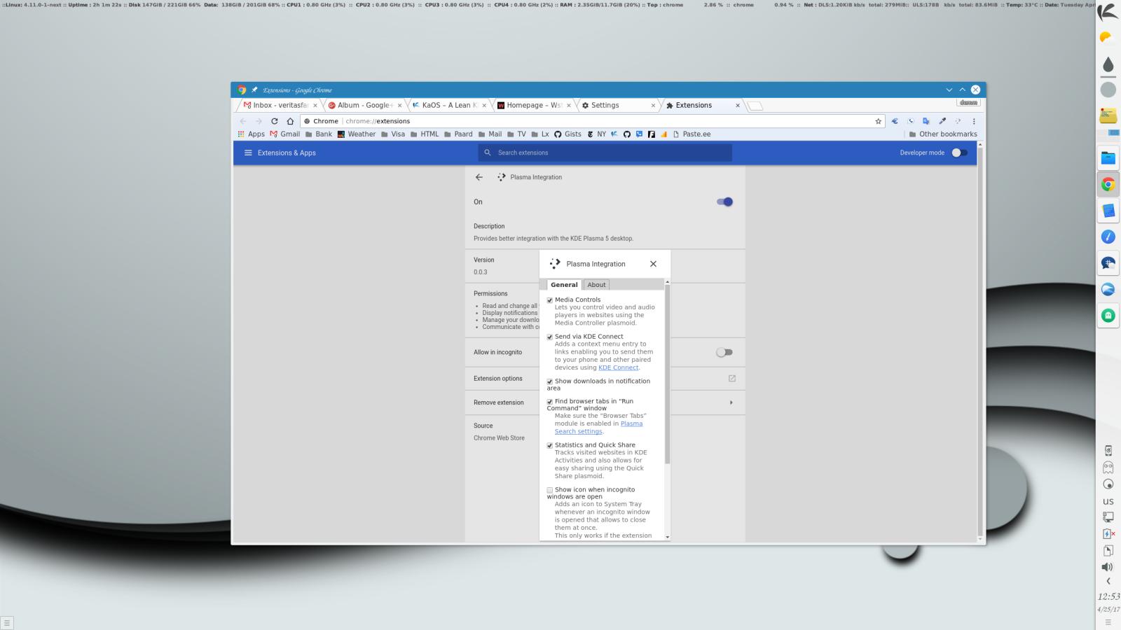 KDE Plasma com integração com o Chrome