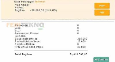cek pembayaran internet indihome telkom speedy 4