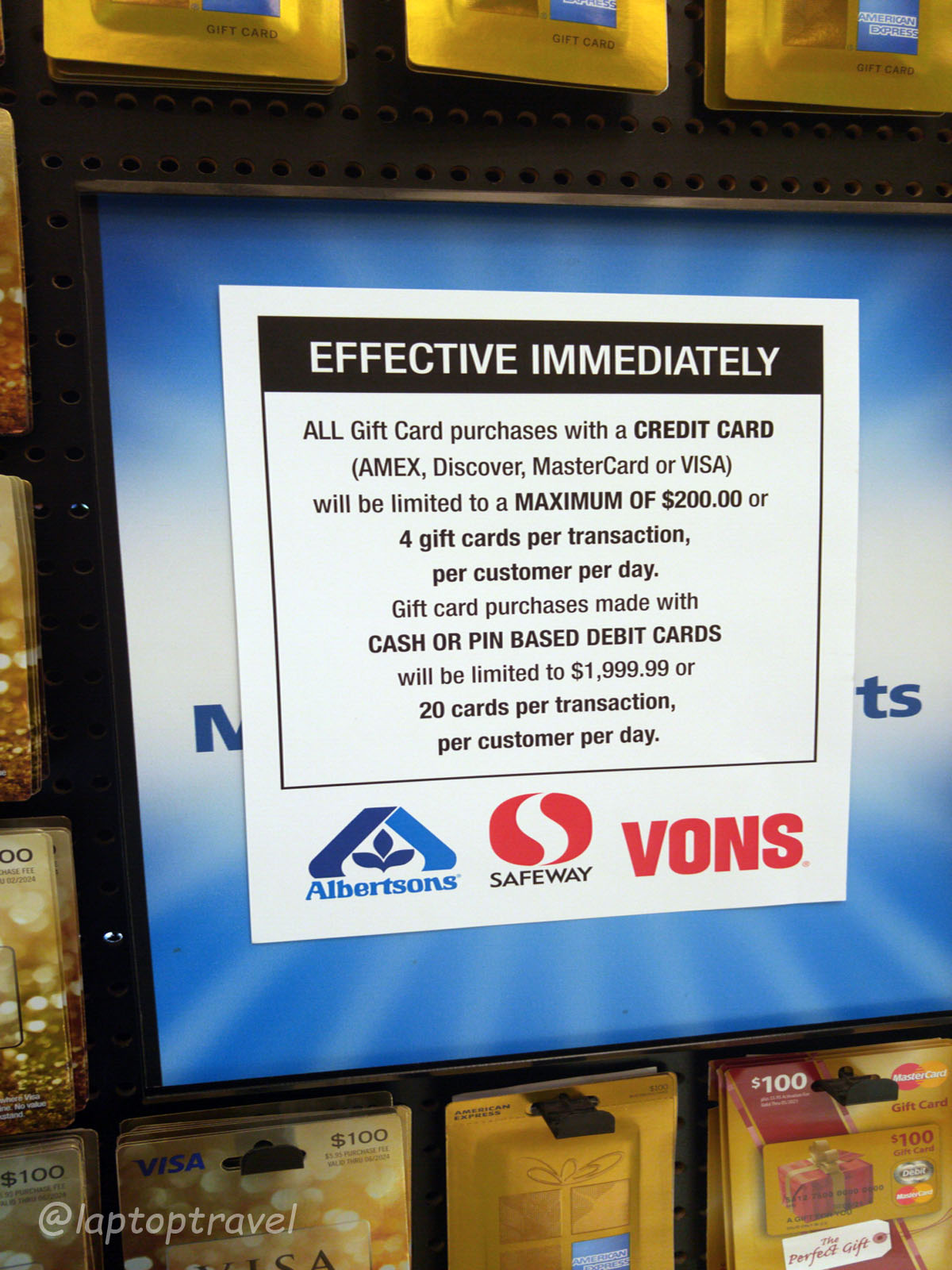 Albertson's, Safeway & Vons Clamp Down on Purchases of Gift Cards ...
