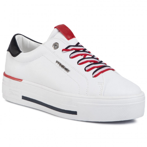 Sneakers cu platforma TOM TAILOR de femei albi simpli
