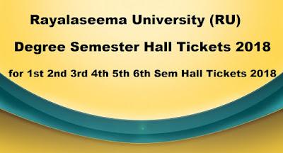 RU Degree Semester Hall Tickets 2018 Download