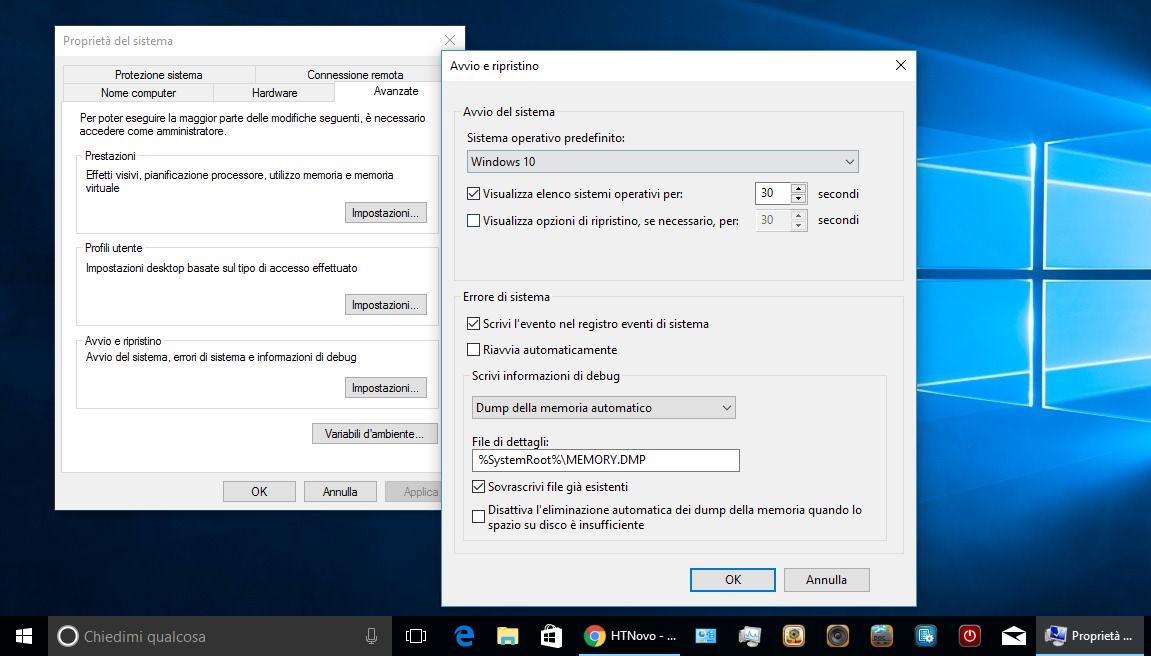 Come impedire il riavvio automatico del PC in occasione di BSOD (Schermo Blu) in Windows 10 3 HTNovo