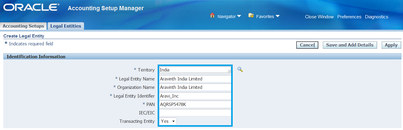 Oracle Applications - Functional: Defining Legal Entity in Oracle Apps