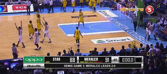 Meralco eliminates Star, 91-88 in OT (REPLAY VIDEO) Semis Game 3 / October 5
