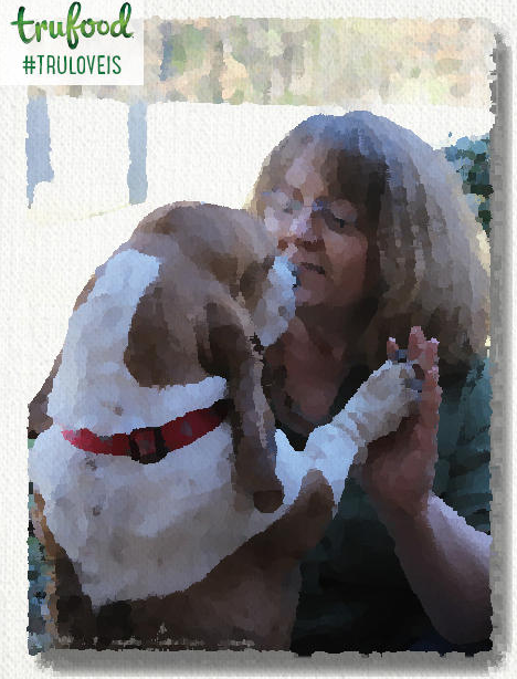 watercolor photo of Basset and woman