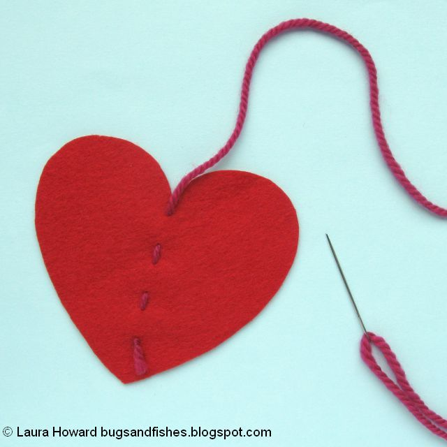 attaching the yarn to the felt heart