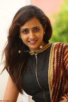 Lasya looks super cute in black choli Saree at Raja Meru Keka Press Meet ~  Exclusive 065.JPG